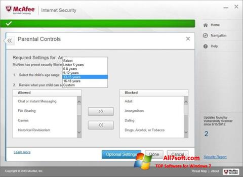Skjermbilde McAfee Windows 7