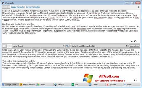 Skjermbilde QTranslate Windows 7