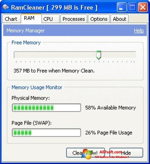 Skjermbilde RamCleaner Windows 7