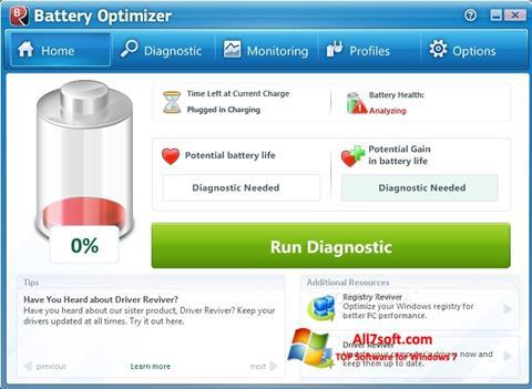 Skjermbilde Battery Optimizer Windows 7