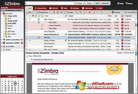 Skjermbilde Zimbra Desktop Windows 7
