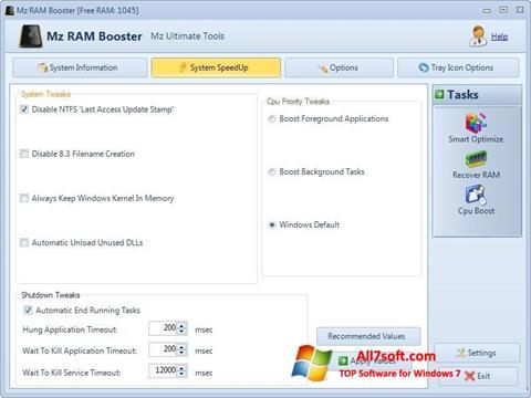 Skjermbilde Mz RAM Booster Windows 7