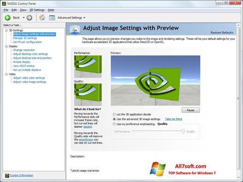 Skjermbilde NVIDIA ForceWare Windows 7