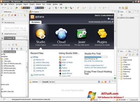 Skjermbilde Aptana Studio Windows 7