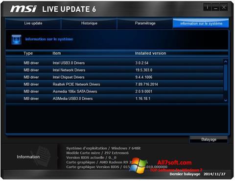 Skjermbilde MSI Live Update Windows 7
