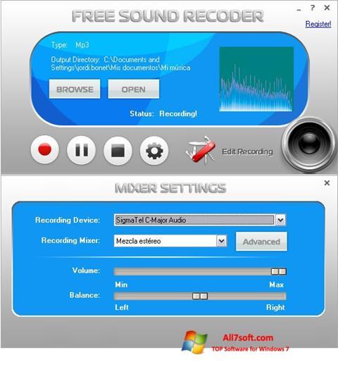 Skjermbilde Free Sound Recorder Windows 7