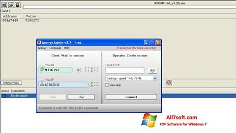 Skjermbilde Ammyy Admin Windows 7