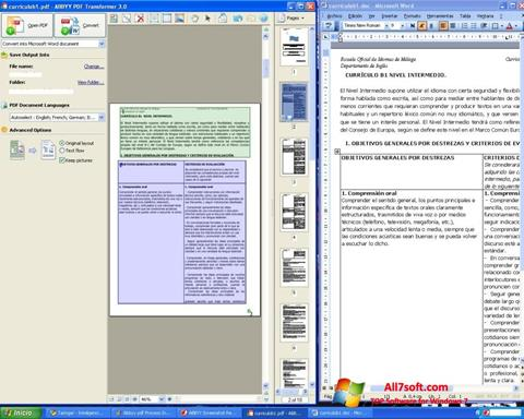 Skjermbilde ABBYY PDF Transformer Windows 7