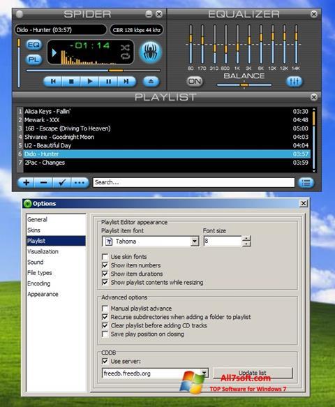 Skjermbilde Spider Player Windows 7