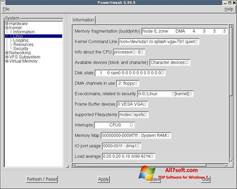 Skjermbilde PowerTweak Windows 7
