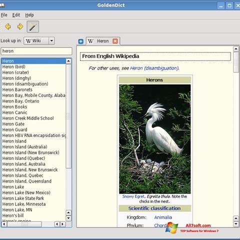 Skjermbilde GoldenDict Windows 7