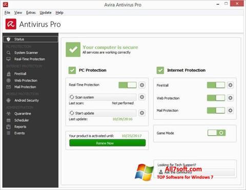 Skjermbilde Avira Antivirus Windows 7