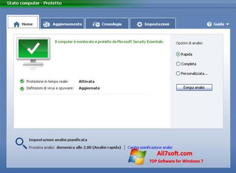 Skjermbilde Microsoft Security Essentials Windows 7