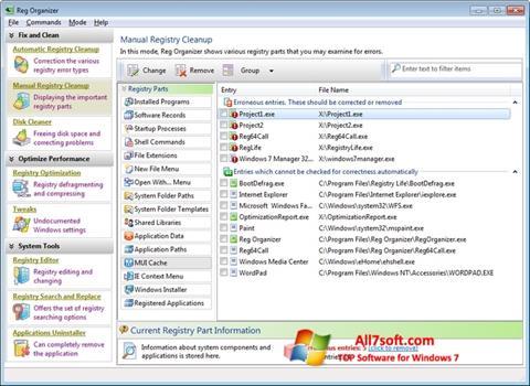Skjermbilde Reg Organizer Windows 7