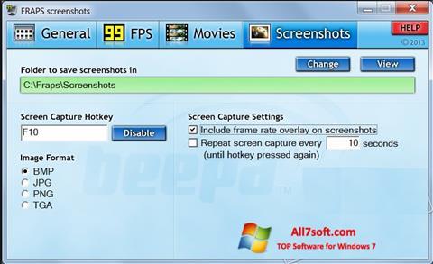 Skjermbilde Fraps Windows 7