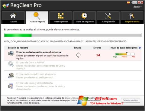 Skjermbilde RegClean Pro Windows 7