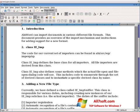 Skjermbilde AbiWord Windows 7