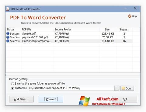 Skjermbilde PDF to Word Converter Windows 7