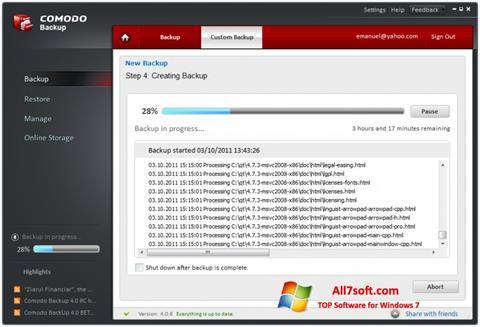 Skjermbilde Comodo BackUp Windows 7