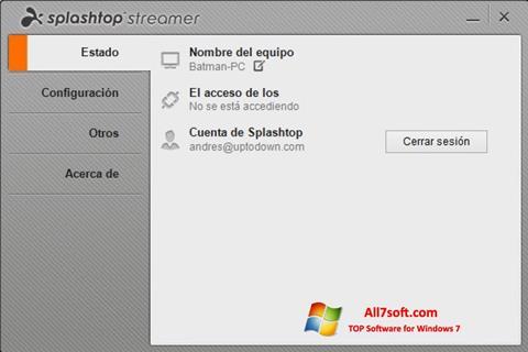 Skjermbilde Splashtop Streamer Windows 7