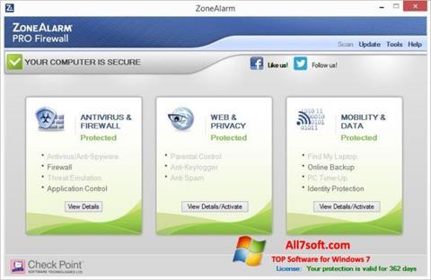 Skjermbilde ZoneAlarm Pro Windows 7