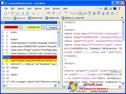 Skjermbilde EmEditor Windows 7