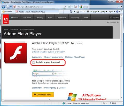 Skjermbilde Adobe Flash Player Windows 7