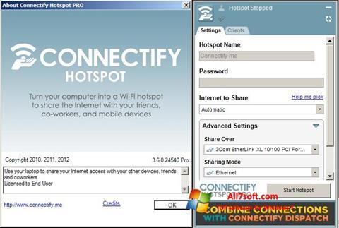 Skjermbilde Connectify Hotspot PRO Windows 7