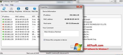 Skjermbilde SoftPerfect WiFi Guard Windows 7