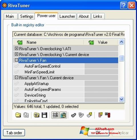 Skjermbilde RivaTuner Windows 7