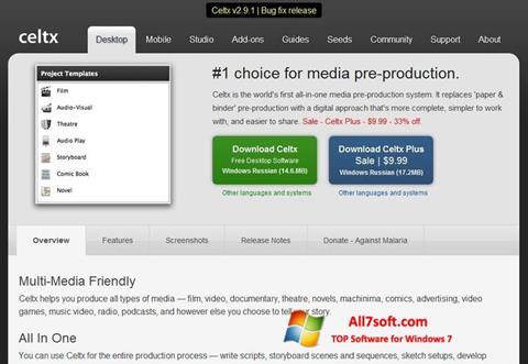 Skjermbilde Celtx Windows 7