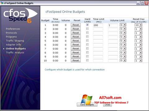 Skjermbilde cFosSpeed Windows 7