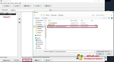 Skjermbilde ArtMoney Windows 7