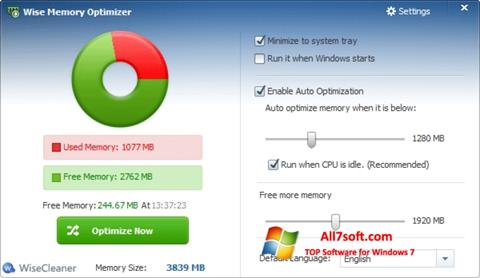 Skjermbilde Wise Memory Optimizer Windows 7