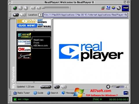 Skjermbilde RealPlayer Windows 7