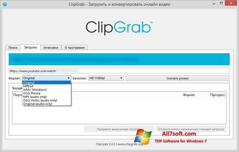 Skjermbilde ClipGrab Windows 7