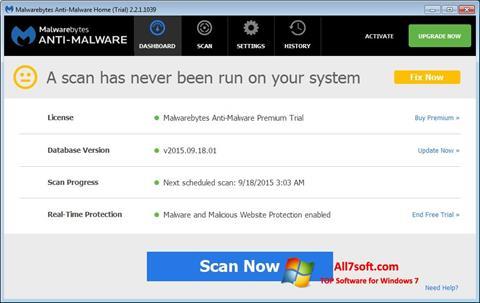 Skjermbilde Malwarebytes Anti-Malware Windows 7
