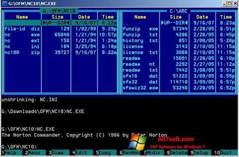 Skjermbilde Norton Commander Windows 7