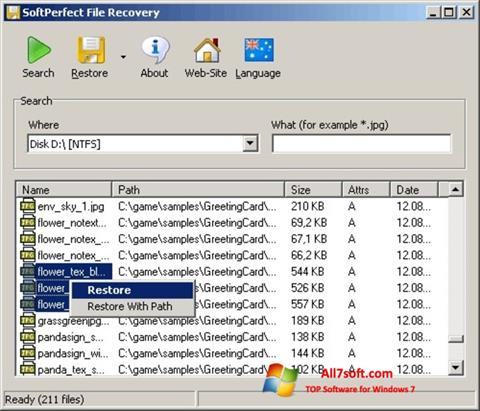 Skjermbilde SoftPerfect File Recovery Windows 7