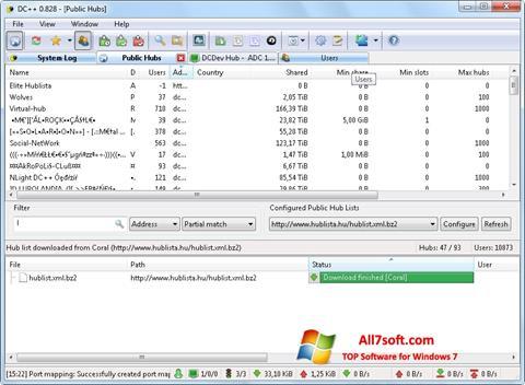 Skjermbilde DC++ Windows 7