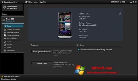 Skjermbilde BlackBerry Link Windows 7