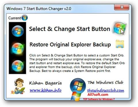 Skjermbilde Windows 7 Start Button Changer Windows 7